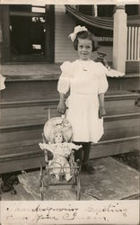 """Thanksgiving Greeting from Your Cousin"" - Girl with Doll and Stroller"