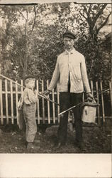 Man and Young Boy with Fishing Poles, Bucket