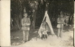 Three Boys Dressed in Native American Outfits