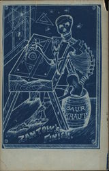 Drawing of Skeleton at Drafting Table Seated on Sauerkraut Barrel