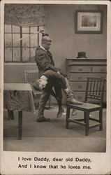 Man with Boy Over Knee, Arm Raised Holding Stick Postcard