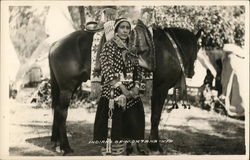 Indians of Montana - Native American Woman Standing With Horse