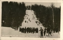 Skiers at Ste. Marguerite, Lac Masson, Quebec, Camada