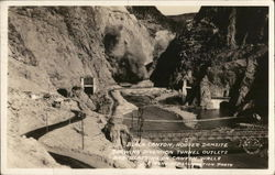 Black Canyon Showing Diversion Tunnel Outlets and Blasting Postcard