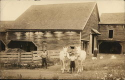 Posing With Two White Horses Outside Barn
