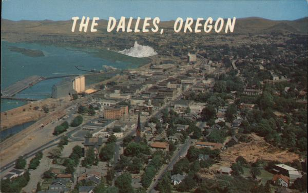 Aerial View of City Next to Body of Water The Dalles Oregon