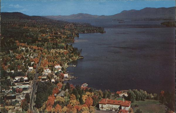 Aerial View Looking North from Lake George Village New York