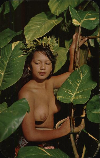 Tahitian Beauty Unadorned - Topless Woman Amid Large Plant Leaves