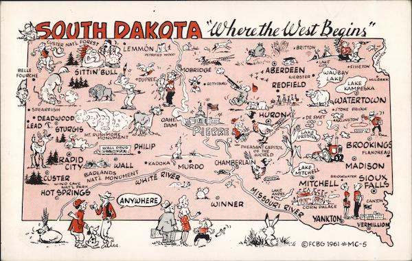 Pictorial Map Of South Dakota Maps Postcard - Map of south dakota