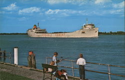 Ship Along the St. Clair River Postcard