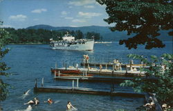 Bolton Landing - People Swimming, Boats and Docks