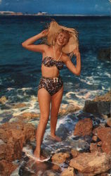 Beachcomber, Woman in Swimsuit Standing on Rocky Shore