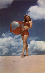 """Greetings"" - Woman in Two-Piece Swimsuit Holding Beach Ball"