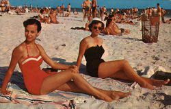 Sunbathers on the Beach - Two Women in Swimsuits
