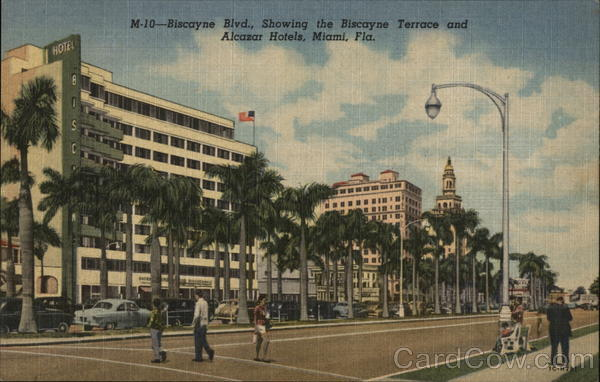 Biscayne Boulevard, Showing the Biscayne Terrace and Alcazar Hotels Miami Florida