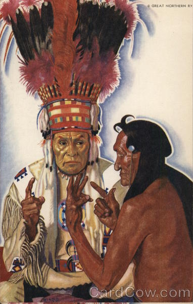 The Sign Talkers - Blackfeet Chieftains No Runner and Hair Coat