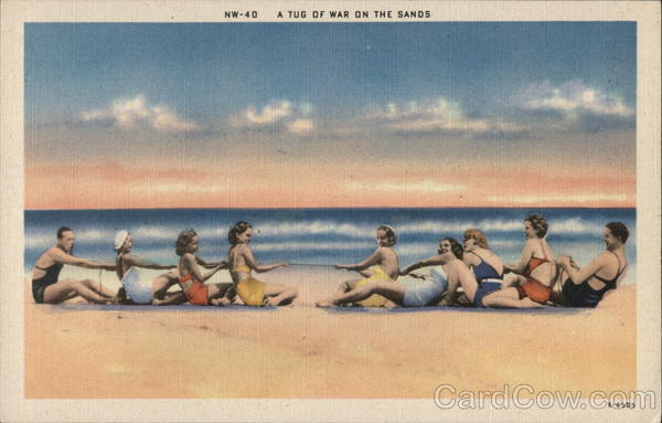 A Tug Of War On The Sands Swimsuits & Pinup