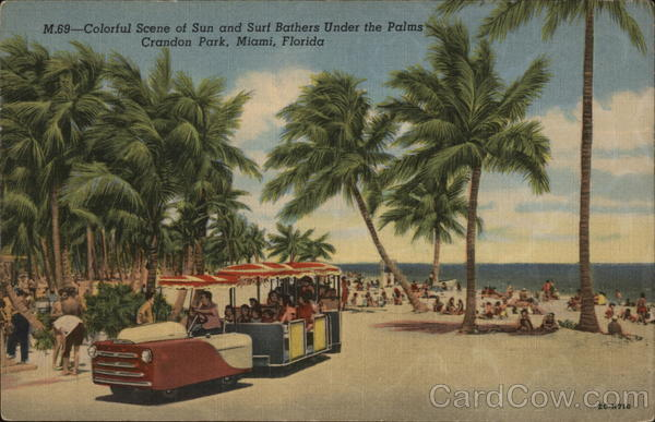 Colorful Scene of Sun and Surf Bathers Under the Palms, Crandon Park Miami Florida
