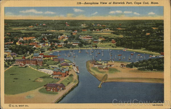 Aerial VIew of Harbor and Town Harwich Port Massachusetts