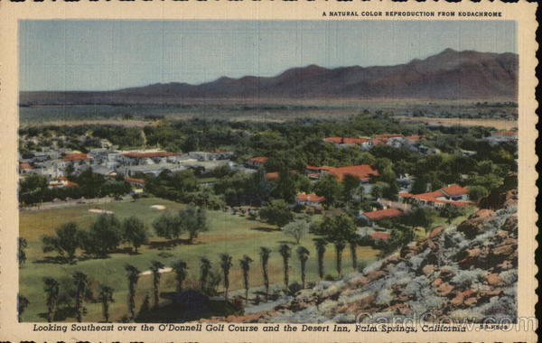 Looking Southeast over O'Donnell Golf Course and the Desert Inn Palm Springs California