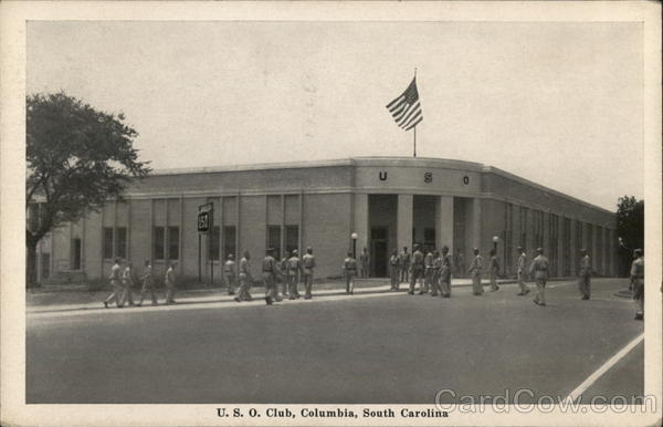 U. S. O. Club - Soldiers in Front Columbia South Carolina