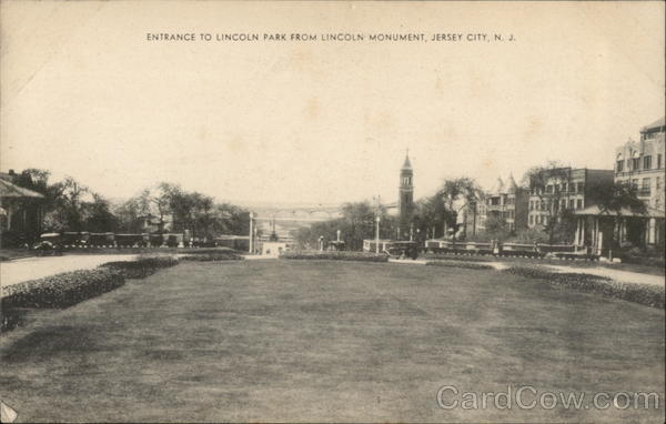 Entrance to Lincoln Park from Lincoln Monument Jersey City New Jersey