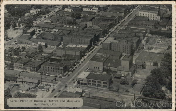 Aerial View of Business District and Main Avenue Ashtabula Ohio