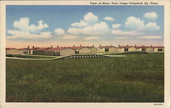 Wide View of Motor Pool, Camp Campbell Postcard