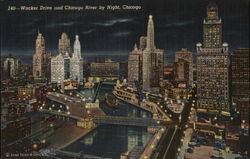Wacker Drive and Chicago River by Night