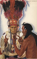 """The Sign Talkers"" - Blackfeet Chieftains No Runner and Hair Coat"