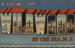 Greetings from Wildwood by the Sea - Lettering Shows Pictures