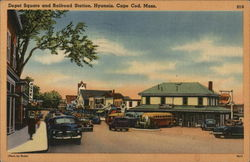 Depot Square and Railroad Station. Hyannis