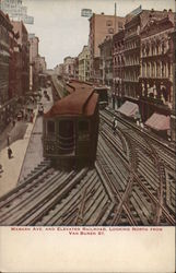Wabash Avenue and Elevated Railroad Looking North from Van Buren Street