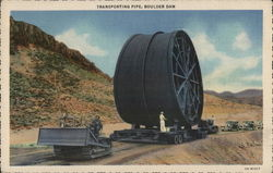 Transporting Pipe, Boulder Dam by Caterpillar Tractor Postcard