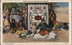 Navajo Indians Spinning Yarn for Rugs