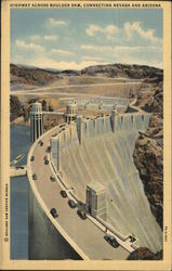 Highway Across Boulder Dam Postcard