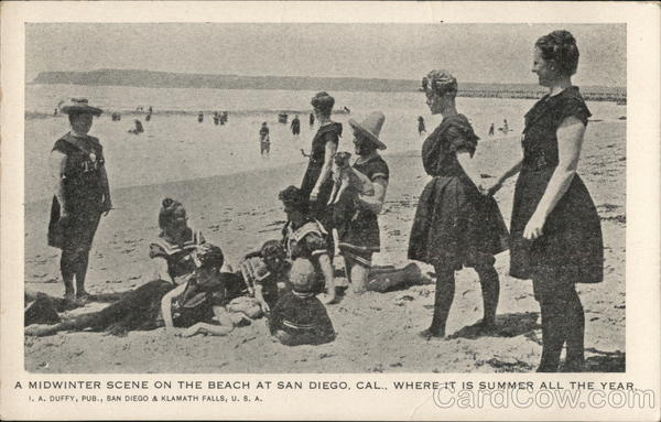 A Midwinter Scene on the Beach at San Diego, Cal., Where It Is Summer All the Year. California