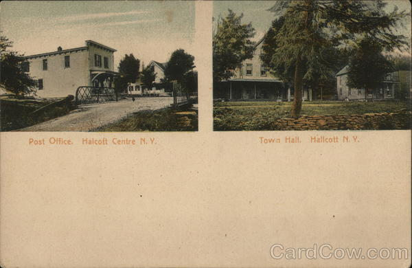 2 Pictures: Post Office, Halcott Centre, N. Y. and Town Hall, Halcott, N. Y. New York
