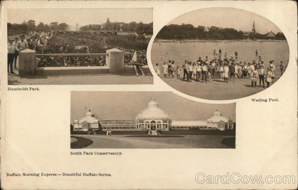 3 Pictures of Buffalo: Humboldt Park, Wading Pool, South Park Conservatory New York