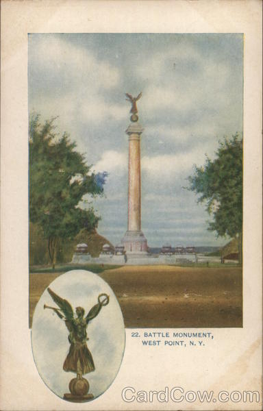 Battle Monument, with Inset of Top Figurine West Point New York