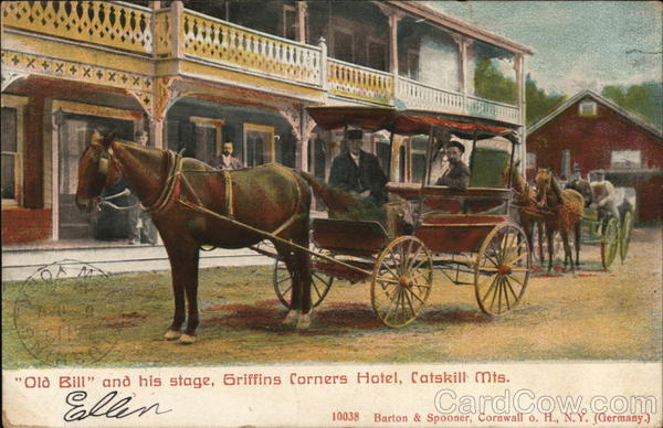 Old Bill and his stage, Griffins Corners Hotel Catskills New York