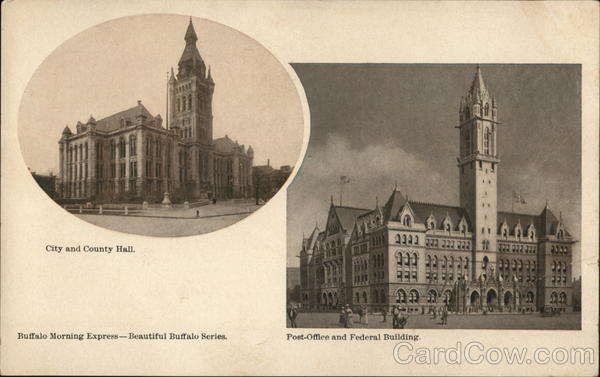 2 Pictures of Buffalo: City and County Hall, Post Office and Federal Building New York