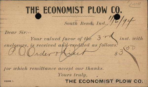 The Economist Plow Co. South Bend Indiana