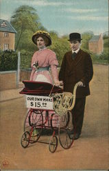 Our Own Make - Couple with Baby Stroller Postcard