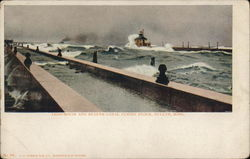 Lighthouse and Duluth Canal During Storm