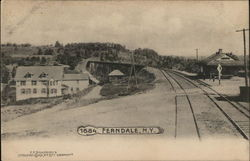 Railroad Tracks and Depot Postcard