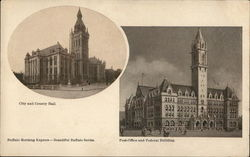2 Pictures of Buffalo: City and County Hall, Post Office and Federal Building Postcard