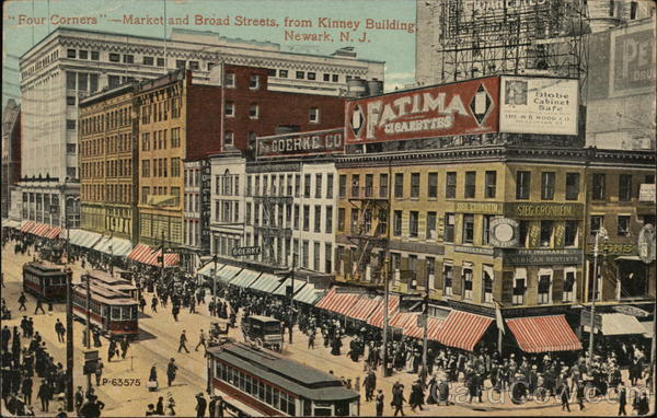 Four Corners- Market and Broad Streets from Kinney Building Newark New Jersey
