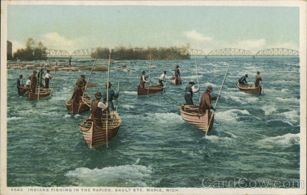 Indians Fishing in the Rapids Sault Ste. Marie Michigan