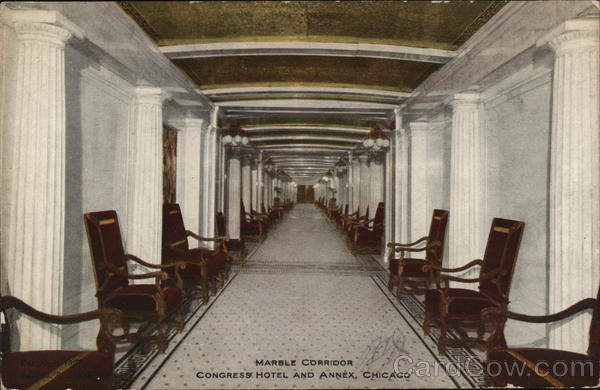 Congress Hotel and Annex - Marble Corridor Chicago Illinois